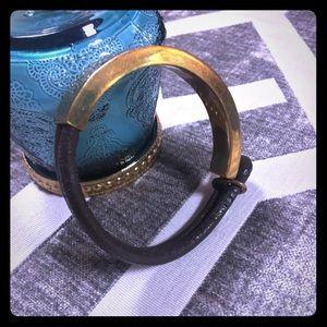 Gold and brown bangle bracelet